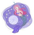 space syren cartoon cosmos mermaid vector image vector image