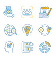 startup color icons set vector image vector image