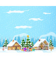 suburban house covered snow vector image