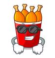 super cool fried chicken in red bucket cartoon vector image