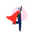 super man in red waving cape rising his hand vector image vector image
