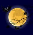 three bats on full moon background vector image vector image