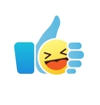 Thumb up emoticon like icon with smiley emoji vector image