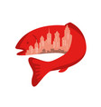 Trout with building skyline inside icon
