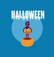 witch holding pumpkin basket full candies and vector image vector image