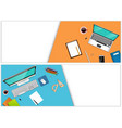workplace office with a laptop and office equipmen vector image vector image