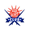 surfing club logo since 1965 surf retro badge vector image