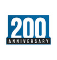 200th anniversary icon birthday logo vector image vector image