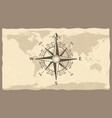 antique compass on world map vintage geographic vector image