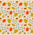 autumn leaves - seamless pattern background vector image
