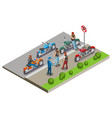 bikers meeting isometric composition vector image vector image