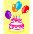 Birthday cake card-pink vector image vector image