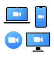 blue camera icon - live media streaming vector image