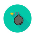 bomb icon on round background vector image vector image