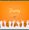 bright orange party background group of people vector image