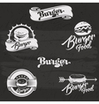 Burgers logo set in vintage style Retro hand vector image
