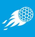 burning golf ball icon white vector image vector image