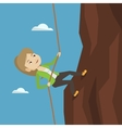 Business woman climbing on the mountain vector image vector image