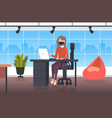 businesswoman using laptop business woman wearing vector image