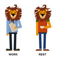 cartoon lion lion man lion hipster lion vector image vector image
