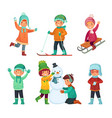 cartoon winter kids children play in winters vector image
