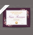 certificate diploma template with pink floral vector image vector image
