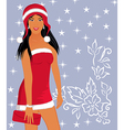 christmas background with sexy lady vector image vector image