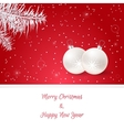Christmas card in red On her white branches of vector image vector image