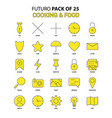 cooking and food icon set yellow futuro latest vector image