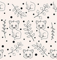 cute seamless florals pattern with cat animals vector image vector image