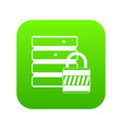 database with padlock icon digital green vector image vector image