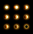 different phases of solar and lunar eclipse vector image vector image