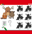 educational shadows game with animal characters vector image vector image