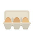 egg box with 6 eggs flat design vector image