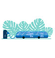 electric bus in city on recharging battery vector image vector image