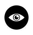 eye icon in white on black circle vector image