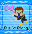 flashcard letter d is for diving vector image vector image