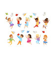 flat set cute kids throwing books up in vector image vector image