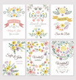 floral design of wedding invitation cards vector image vector image