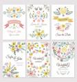 floral design wedding invitation cards vector image vector image