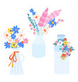 flower vase set isolated vector image