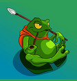 green fat frog sitting on a leaf and smoking pipe vector image vector image