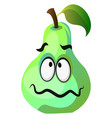 Green pear cartoon face sick on white background