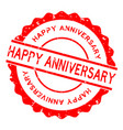 grunge red happy anniversary word round rubber vector image