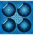 highly detailed blue snowflake stickers on seamles vector image