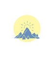 hill landscape nature mountain fireworks glyph vector image vector image