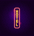 hotel vertical neon label vector image