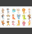 kids in animal costumes set vector image