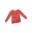 knitted woolen sweater red pullover with colorful vector image