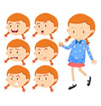 Little girl with different faces vector image vector image